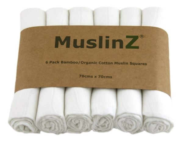 Muslinz Bamboo Cotton Muslin Squares 70x70cm - 6 pack